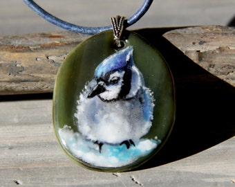 Blue jay in the snow necklace,  fused glass pendant, bird jewelry