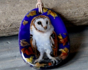 Barn Owl in fall - fused glass pendant  - fall .