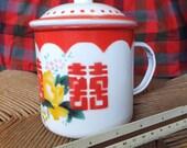 Large Vintage Chinese Cup Vintage Enamel Cup Peony Flower Tin Cup Lid Red White Retro Asian Mug Vintage 1930's Bumper Harvest Enameled Mug