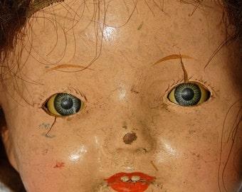 Sale Antique composition doll head, vintage doll head, steampunk art, doll parts, brunette, blue eyes, Red Lips