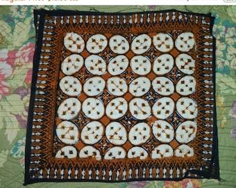 HUGE SALE 1970's Indonesian Batik Napkin, Hobo, Bohemian, Brown Design, Floral Pattern, was resistant dying, Copper Stamp, Java Batik, Javan