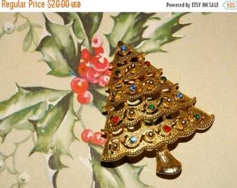 Christmas Tree Pin, Rainbow Bulbs, Gold Christmas Tree Star Brooch,  Bulbs, , Christmas Star Pin #31