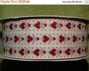 Valentine Heart Ribbon Sweetheart Package Ribbon Linen Ribbon, Valentines Day Ribbon, Fabric Ribbon 1 yard
