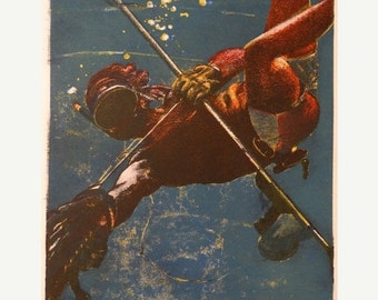 "Valentines Day Sale Vintage 1980's Art Print ""Diver"" 1/1 signed by Artist 20""x15"" on Rag Paper Spearfishing Texas Diving Ocean Nautical Texa"