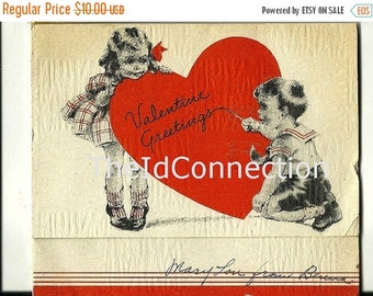 """Valentines Day Sale 1939 Valentine Card, """"Valentine Greeting, Won't you be my Valentine and Play with me each Day, Any kind of game you wish"""