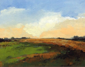 "CREST, oil painting, landscape, original, 100% charity donation, 9""x12"" canvas panel, clouds,"
