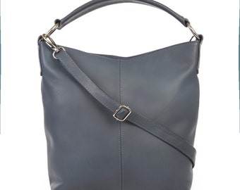 Leather Handbag, Hobo, Tote, Purse, Gray