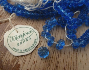 RARE 24 Vintage Czech Marjorie Brand Transparent Blue 6mm Flower Glass Beads C37