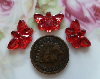 3 RED Glass Stones/Cab Sewons Sew-on Butterflies Butterfly Moths C2