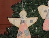 Primitive Angel Ornaments- Vintage Quilt - Handsewn