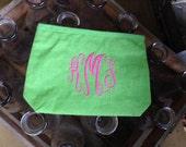 Monogrammed / Personalized Cosmetic Bag Jute
