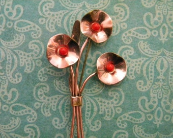 SALE-Vintage Mid Century Copper Flower Brooch Bouquet of Poppies