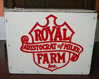 Large Vintage Milk Delivery Box Royal Farm Dairy Wooden Container
