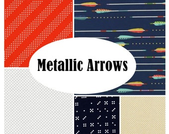 Custom Crib Bedding-METALLIC ARROWS