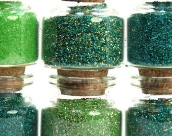 Green Medleys Set of Corked Jars art glitter craft glitter decoration glitter glass glitter artist glitter german glitter - 311-M-0603