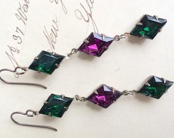 Green and Purple Glass Rhinestone Harlequin Earrings Dangly Long Vintage Stones