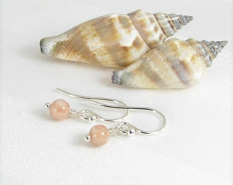 Very Tiny Sunstone and Sterling Silver Earrings