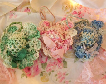 cottage chic vintage hand crocheted heart satin ornaments, set of 3, variegated pink, green & blue with white, charming vintage hand craft