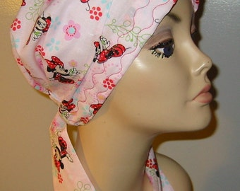 Minnie Mouse Print  Chemo Hat, Cancer Scarf, Modest Hat