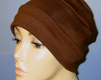 3-Band Brown Stretch Knit Chemo Hat, Hijab, Alopecia Cap, Yoga Hat, Cancer Hat