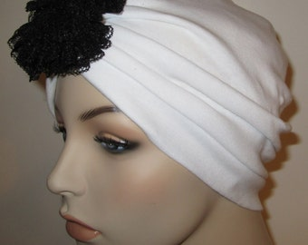 White Knit Turban w Detachable Lace Flower, Chemo Hat, Snood, Womens Hat Cancer Hat, Alopecia Fashion Turban