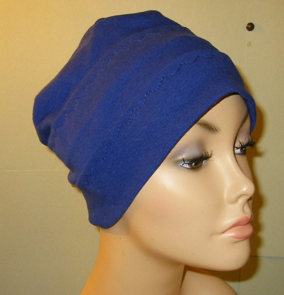 3-Band Royal Blue Stretch Knit Chemo Hat, Hijab, Alopecia Cap Yoga Hat Cancer Hat