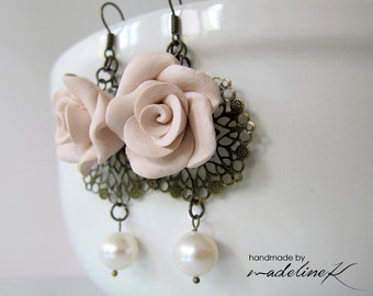Soft Pink Rose Filigree Earrings, Rose Pearl Earrings, Polymer Clay Rose Earrings, Pearl Flower Dangle Earrings, Vintage Flower Jewelry