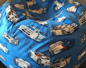 Blue And White Race Cars Boys Bean Bag Chair Daytona NASCAR Style UNFILLED Cover Liner