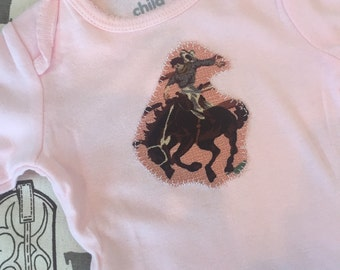 Long Sleeve Pink Retro Rodeo Cowgirl baby onesie size 3 to 6 months