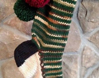 Old Fashioned Hand Knit Christmas Stocking Woodland Camouflage and Hunter Green Horizontal stripe body with Snowflake borders
