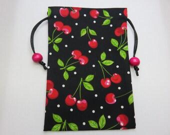 Cherries Silk Lined Tarot Bag, Tarot Pouch, Handmade