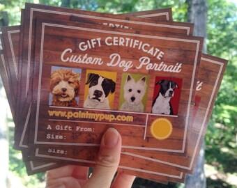 Custom Dog Portrait Gift Certificate, Custom Dog Painting Gift Certificate, Custom Cat Portrait Gift Certificate