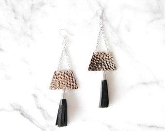 black leather tassel earrings / hand made / mod / hammered silver / statement earrings / fringe earrings / shoulder dusters