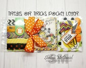 Treats or Tricks POCKET LETTER- Halloween Themed Happy Mail, Pen Pal Kit, Planner Supplies, Scrapbooking, Cardmaking, Crafting, Gift