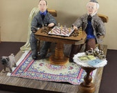 J.R.R. Tolkien-  C.S. Lewis- Diorama Art - Chess Playing- Miniature Scene- Book Geek Gift- Famous Authors