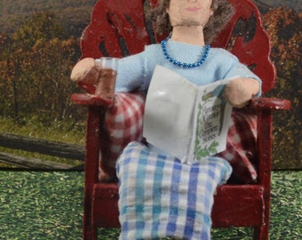 Flannery O' Conner Doll Miniature Author in a Chair Southern Writer Art Character