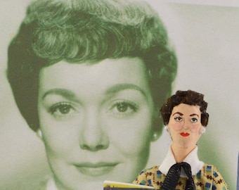 Jane Wyman Golden Hollywood Movie Star Doll Miniature Celebrity Art Collectible