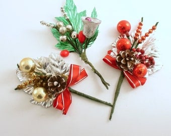 Vintage Christmas Corsages Glass Beads Christmas Decoration