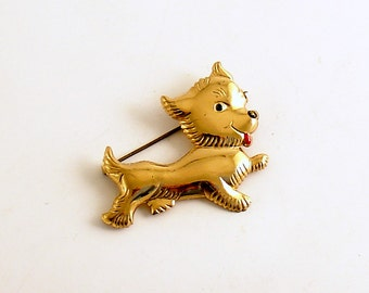 Vintage Terrier Brooch Dog Pin Costume Jewelry