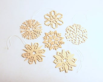 Vintage Christmas Ornaments Wood Snowflakes Erzgebirge Original Box Snowflake Ornaments