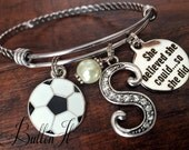 SENIOR gift, She BELIEVED she could so she did, Soccer gifts, softball gift, Initial Jewelry, Class of 2016 gift, Graduation gift, graduate