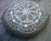 Painted Beach Stone Mandala; Boho