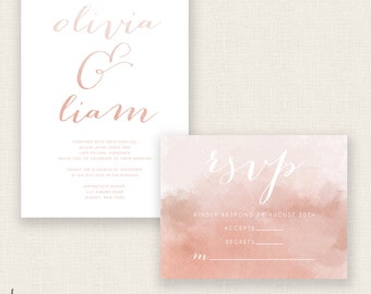 BLUSHING BRIDE - DIY Printable Wedding Set - Invitation and Reply Card