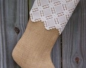 Lace & Burlap Stocking Christmas  Country Farmhouse Shabby Rustic Personalized 258