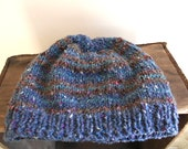 Chunky tweed wool beanie, slouchy hat, striped Hand Knit -  storm blue clay brown teal