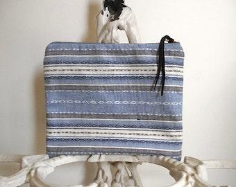 Striped indigo slate grey clutch, large utility bag, zipper pouch - tribal ethnic - eco vintage fabric