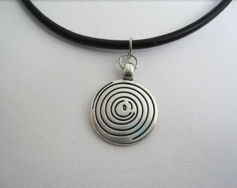 Black Leather Choker Silver Swirl necklace