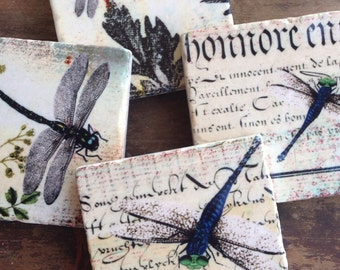 Dragonflies drink coasters - gift for her - stone coasters