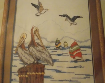 Pelican Scene Counted Cross Stitch KIT Ocean Scenic Needlecraft Sailboats