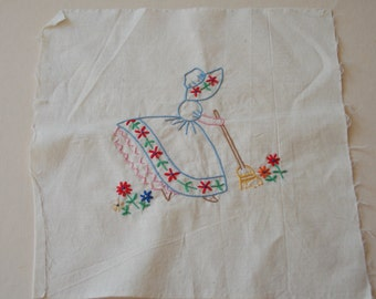 Beautiful Hand Embroidered Girl Sweeping Broom Vintage Charm Flowers QUILT Square for Pillow Framing Shabby Cottage Decor